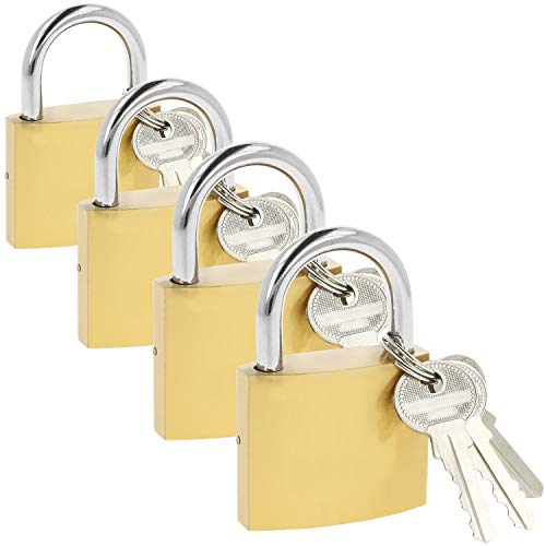 com-four® 4X Vorhängeschloss aus massivem Metall mit je 3 Schlüsseln und gehärtetem 50 mm Bügel (04 Stück - 50 mm V2)