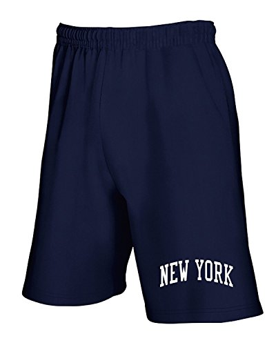 Cotton Island - Pantalone Tuta Corto TSTEM0132 vintage new york in blue logo Blu Navy