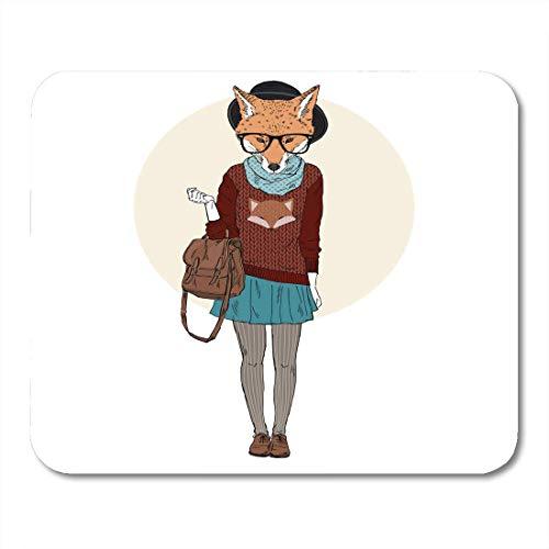 Luancrop Mauspad Brille Fox Girl Hipster in Foxy Pullover Pelztiere Mousepad für Notebooks, Desktop-Computer Mauspads, Bürobedarf - Foxy Hipster
