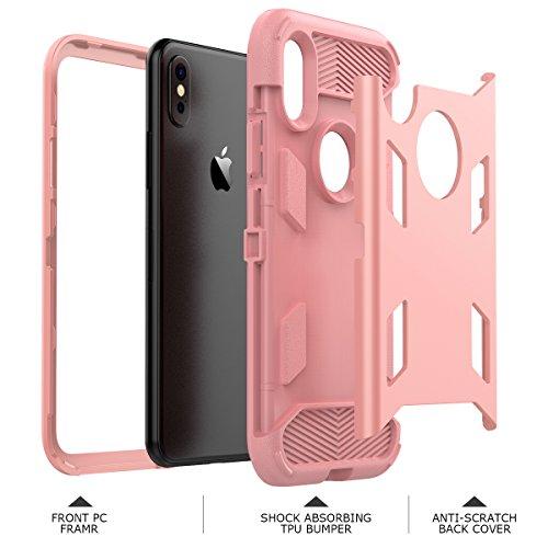 Coque iPhone X, WE LOVE CASE Coque Armor Heavy Duty de Protection en Hard PC Dur Coque iPhone X Anti Choc Bumper, 3 in 1 Antichoc Rigide Resistante Bumper Coque Apple iPhone X Noir rose gold