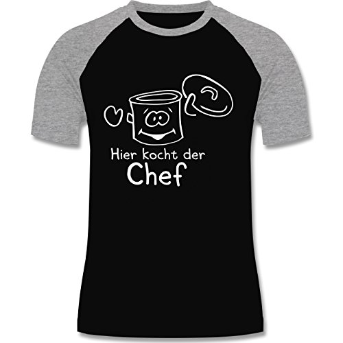 Küche - Hier kocht der Chef - zweifarbiges Baseballshirt für Männer Schwarz/Grau Meliert