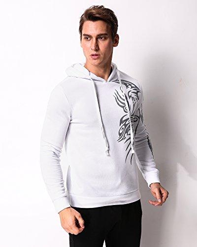 MODCHOK Herren Kapuzenpullover Hoodie Sweatshirt Pullover Pulli Totem Drucken Sweatjacke Basic Weiß