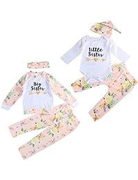 puseky Baby Girls Big Little Sister Trajes a Juego Camisa Floral Tops + Pantalones + Diadema o Sombrero Conjunto de Ropa