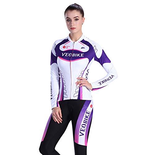 SonMo Damen Schutz Radjacke + Fahrradhose Radfahren Jersey Set Fahrradbekleidung Set Langarm Radtrikot Frühling und Herbst mit Sitzpolster Thermische Reflektorstreifen Lila Weiß L