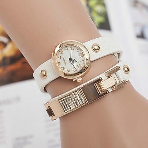Tavolo braccialetto orologi stella di diamante delle donne tre avvolgimento cintura di paillettes retro vigilanza ( Colore : Verde , Sesso : Donna )