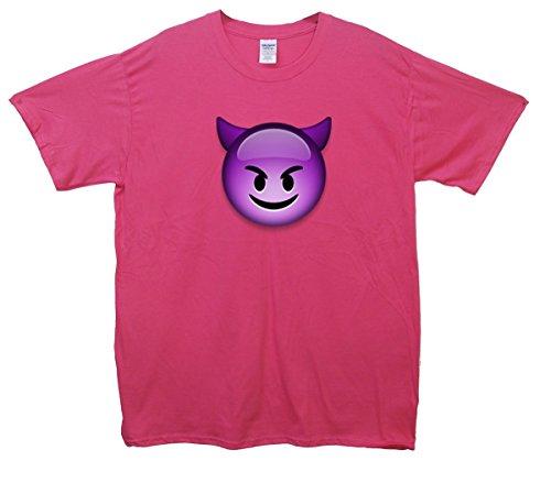 Lila Devil Face Emoji T-Shirt Rosa