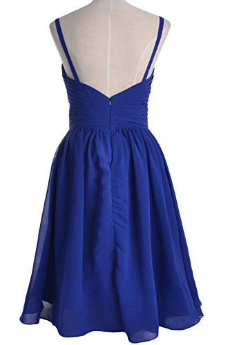MACloth Spaghetti Straps Short Bridesmaid Dress Wedding Party Formal Gown Sky Blue