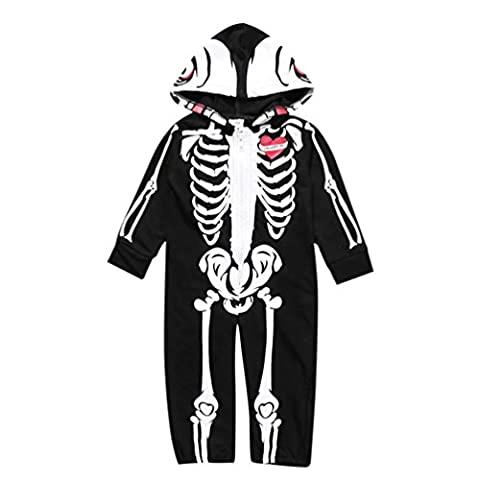 TIREOW Halloween Unisex Cute Soft and Comfy Warm Organic Cotton Skull Skeleton Print Casual Long Sleeve Hooded Romper Outfits Clothes Set For Newborn Infant Baby Boy Girl Black 2017
