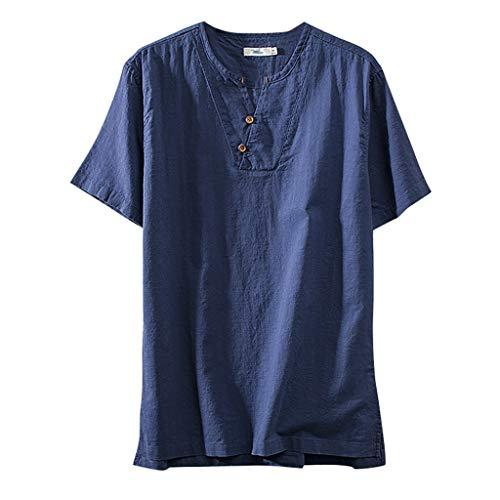 en Normallack-Kurzschluss-Hülsen-Retro T-Shirts der Art- und Weisemänner übersteigt Bluse(XXXX-Large,Blau-B) ()