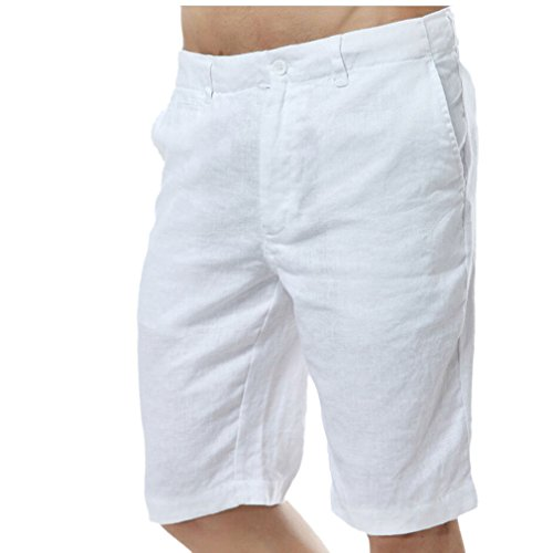 Najia Symbol Herren Beiläufig 100% Leinen Kurze Hose Men's Shorts (W36/Etiketten L, Weiß) -