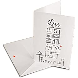 Vatertagskarte - Glückwunschkarte für den besten Papa der Welt - Grußkartekarte oder Dankeschön Karte zu Vatertag, Geburtstag, Klappkarte aus Bütte inkl. Umschlag