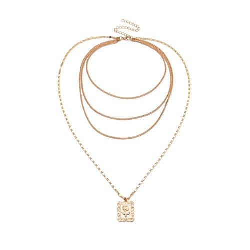 Adisaer Herzkette Gold Halskette Damen Dezent Multilayer Rose Quader Tag Bar Panzerkette Charms Choker 4 Hochzeit Choker Halskette Für Mutter