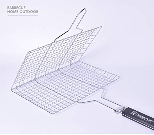 LEN Portable BBQ Fish Grilling Basket Grates, Barbecue Burger Vegetable Sausage Food Meat Turkey Flip Foldable Rack Holder, 430 Stainless Steel 50 X32 X 2Cm With Detachable Handle