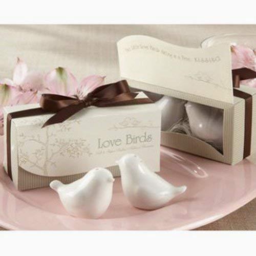 Hilai 1 Satz Love Birds Keramik Salz- und Pfefferstreuer Personalisierte Hochzeit Bevorzugungen - White