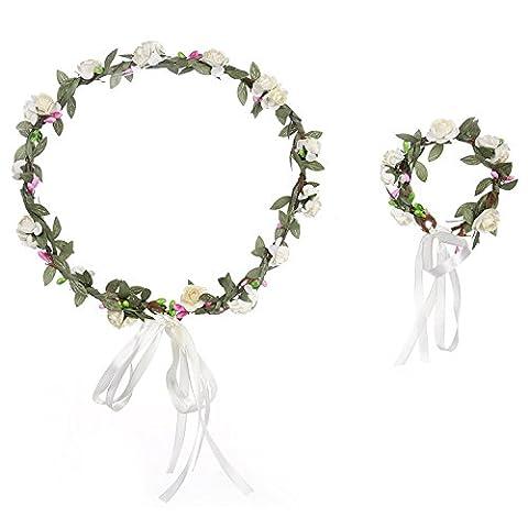 Cheerfulus Rose Blumen Stirnband und Armband Hochzeit Braut Deko /Sommerfest/Oktoberfest(Weiß)