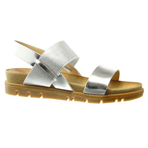 Angkorly Damen Schuhe Sandalen Mule - Glänzende - Multi-Zaum - String Tanga Keilabsatz 4 cm - Silber YS435 T 37 (Silber-multi-schuhe)