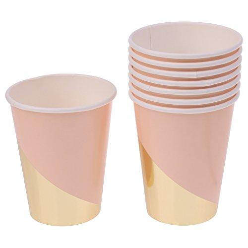Gazechimp Lot 8pcs Gobelet Jetable en Papier Epais 270ml Tasse à Café Jus Boisson - Rose Or