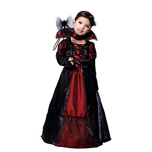 RYTEJFE Mädchen Karneval Lady Vampirin Vampir Prinzessin Vampirkleid Dracula Halloween Cosplay Kostüm - Little Sister Cosplay Kostüm