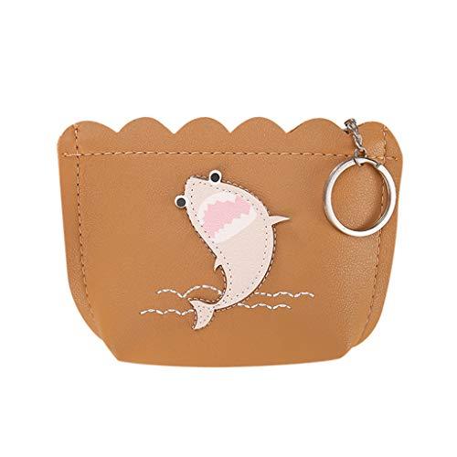 Mode GeldböRse Clutch TTLOVE Niedlicher Druck Mini Brieftasche Damen ReißVerschluss Handtasche Taschen (Khaki) -
