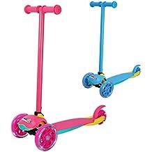 Fascol Monopatín Scooter Patinete Escúter Plegable de 3 Ruedas para Niños de 2 a 5 Años- Rosa