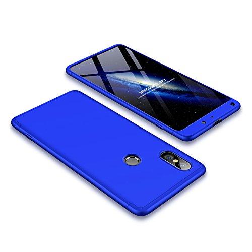 Xiaomi Mi Mix 2S Custodia,2ndSpring Xiaomi Mi Mix 2S Case 360 Gradi della copertura completa 3 in 1 Hard PC Case Cover con Protezione Dello Schermo di Vetro Temperato,Ultra Sottile Anti-Scratch Bumper Protettiva Cover Case per Xiaomi Mi Mix 2S Blu