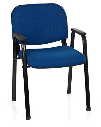 hjh OFFICE 704341 Besucherstuhl XT 650 Stoff Blau Konferenzstuhl Gepolstert mit Armlehne, stapelbar
