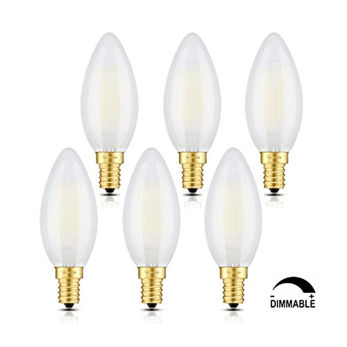 TAMAYKIM C35 6W Dimmbar Glühfaden LED Kerze Lampe, 5000K Tageslichtweiß 600 Lumen, Ersatz für 60W Glühlampen, E14 Fassung, Torpedo Form, Matt Glas, 360° Abstrahlwinkel, 6er-Pack