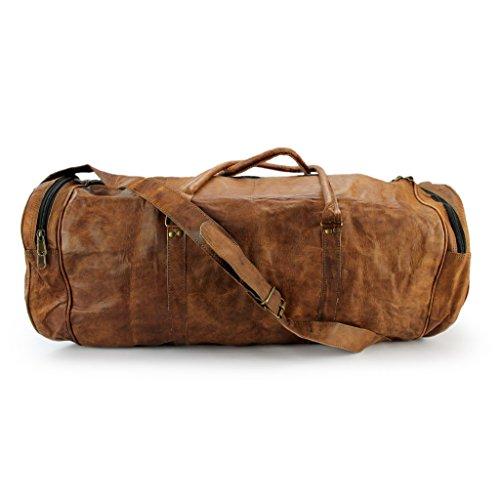 A.P. Donovan - Leder-Sporttasche, auch für Reise, Camping, Training, Fitness - Begleiter - Weekender, Handgepäck, für Herren, rund und kompakt