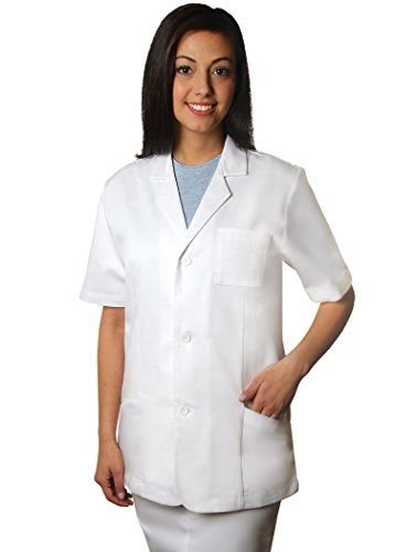 Adar Universal 78,7 cm Unisex Short Sleeve Beratung Coat Gr. Medium, weiß (Uniformen Scrubs Mutterschaft)