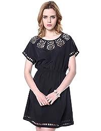 JNTworld Damen Sexy Schnüren Ausgehöhlte Netz kurzärmelig Schlank Taille Kleid