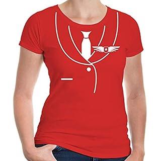buXsbaum® Damen Kurzarm Girlie T-Shirt bedruckt Flugzeug-Dress | Karneval Fasching Kostüm | XS red-white Rot