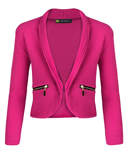 LotMart Girls Long Sleeve Open Front Zip Pocket Jacket Kids Blazer Cardigan Top and Free Gift Promotional Pen With Every parcel