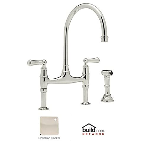 Rohl U.4719L-PN-2 Perrin and Rowe Bridge Style Kitchen Faucet with Sidespray, Polished Nickel by Rohl
