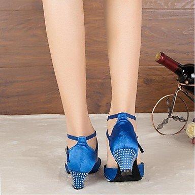Zapatos De Baile - No Personalizables - Mujeres - América Latina - Tacón Grueso - Satén / Cuero - Azul Azul