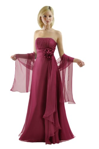 SEXYHER Damen Strapless Brautjungfern Abendbrautjungfernkleid-ED8888-Scarlet,UK14(DE40) (Strapless Brautjungfer Kleid)