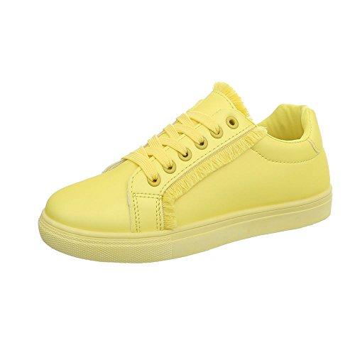 Ital-Design Sneakers Low Damen-Schuhe Schnürsenkel Freizeitschuhe Gelb, Gr 40, G-91- (Sneaker Design)