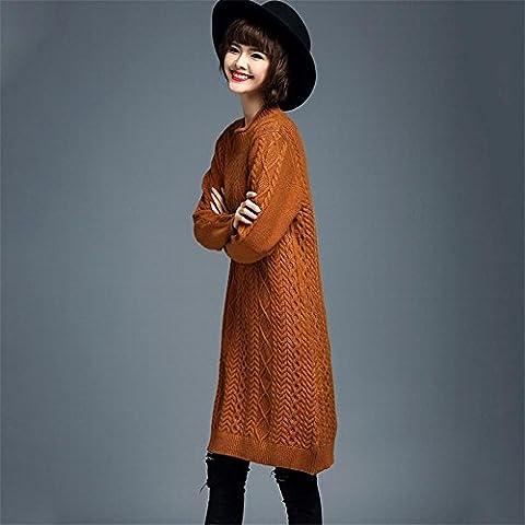 WZH Grandes sueltas tamaño cuello jersey de mujer tejer vestido vestido suéter falda . 3xl . orange red