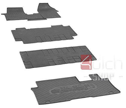 Su misura per bagagliaio e tappetini in gomma adatti per Citroen Spacetourer 9 posti dal 2016 L2 - Un set