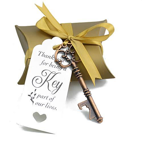 Makhry 50 Stücke Hochzeit Gunsten Souvenir Geschenk Set Kissen Pralinenschachtel Jahrgang Skeleton Schlüssel Flaschenöffner Escort Danke Tag Französisch Band (antikes Kupfer)
