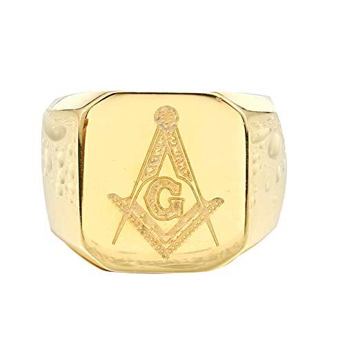 Blisfille Ring Gold Herren Ringe Edelstahl Gold Ring Herren Freimaurer Silber Gr. 54 (17.2)