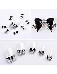 Vovotrade 10 pièces en alliage strass 3D Nail Art Bow Tie Glitters Slice DIY Décoration Noir