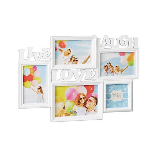 Relaxdays Bilderrahmen Live Love Laugh, 5 Bilder verschiedene Größen, 3D Collage mehrere Fotos, HxB: 31 x 45,5 cm, weiß