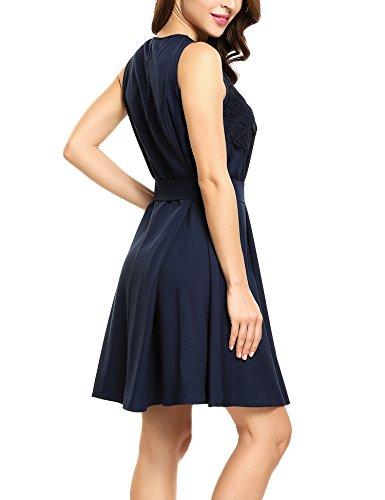 Zeagoo Damen Sommer Chiffonkleid Spitzenkleid Ärmellos Elegant Minikleid Loose Fit Schwanger Kleid mit Gürtel Weinrot