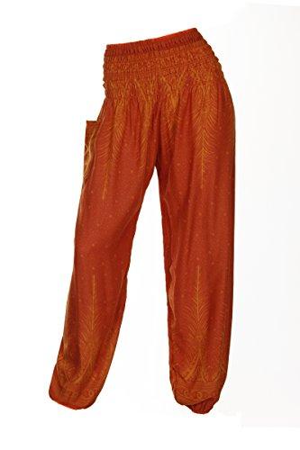 HAREMSHOS'ALADDIN-HIPPIE-HOSE MIT 18 VERSCH. DESIGNS Peacock 2 Orange