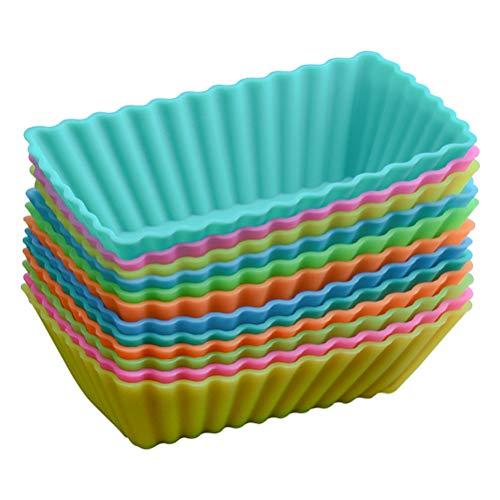 BESTONZON Muffinförmchen Silikon Rechteck Backförmchen Cupcakeförmchen Wiederverwendbar 8 Stück