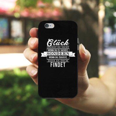 Apple iPhone X Silikon Hülle Case Schutzhülle Glück Statement Sprüche Silikon Case schwarz / weiß