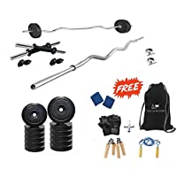 Protoner Unisex Adult with Accessories 20Kg 3 Rods Pvc Weight Lifting Package - Black