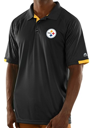 """Pittsburgh Steelers Majestic NFL """"Club Level"""" Men's Short Sleeve Polo Shirt"""