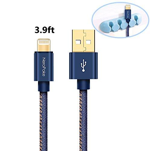Cavo Lightning, neropoke iPhone cavo di ricarica lightning USB cavo dati cavo per iPhone X/8/7/6/6S/6Plus/6S Plus/Se/5/5C/5S con memoria raccoglitore ad anelli Blau