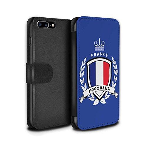 Stuff4 Coque/Etui/Housse Cuir PU Case/Cover pour Apple iPhone 8 Plus / Ecosse/écossaise Design / Emblème Football Collection France/Français